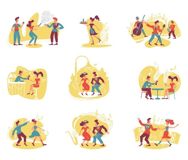 레트로 스타일 파티 2d. 성인을위한 구식 엔터테인먼트. 빈티지 여자와 남자 만화 배경에 평면 캐릭터를 춤. 인쇄 가능한 패치, 다채로운 웹 요소 프리미엄 벡터