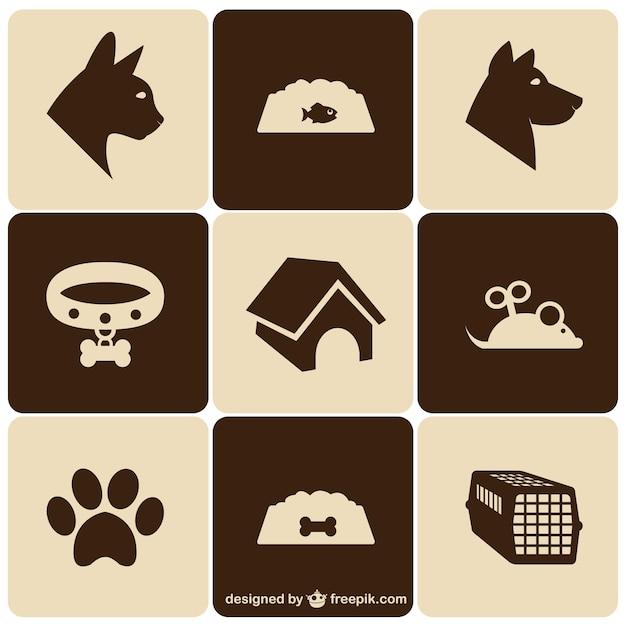 Retro style pet icons set Free Vector