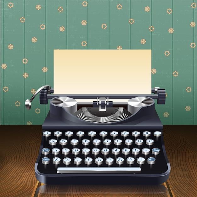 Retro style realistic typewriter Free Vector