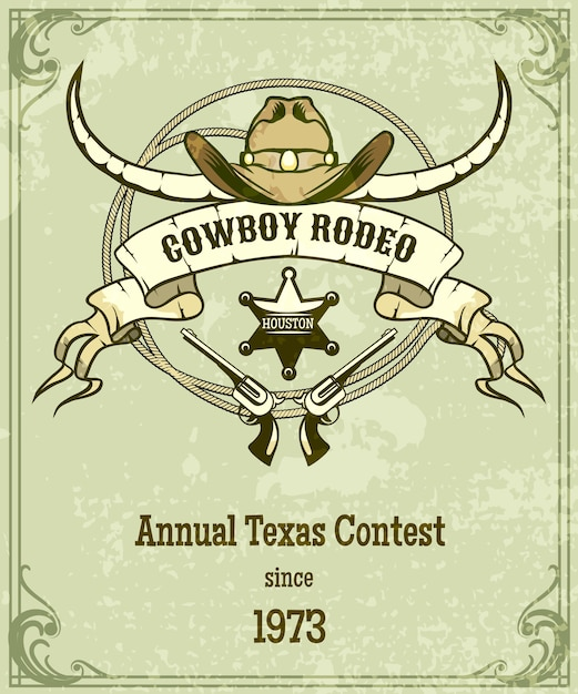 Retro style rodeo poster. american style design, banner with rope and ribbon and longhorn. Premium Vector