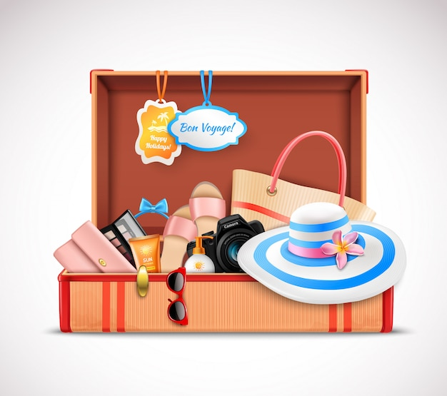 3ad846a8ef Retro suitcase vacation luggage open realistic Free Vector