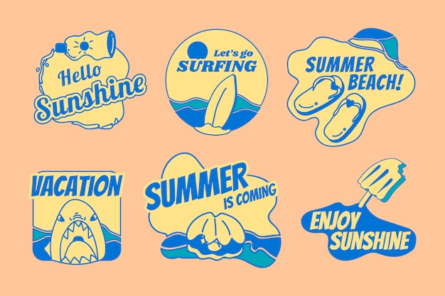 Retro summer badge set Free Vector