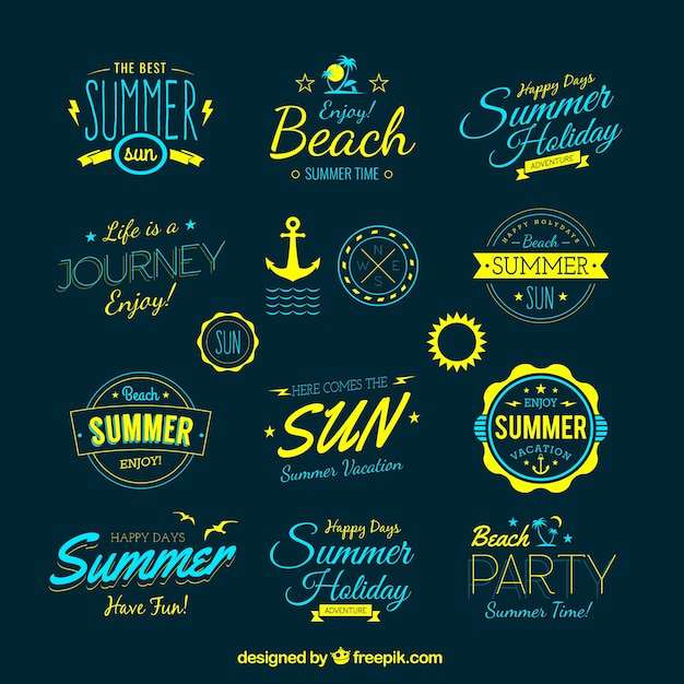 Retro summer badges Free Vector