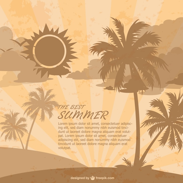 Retro Summer Beach Background With Palm Trees Vector