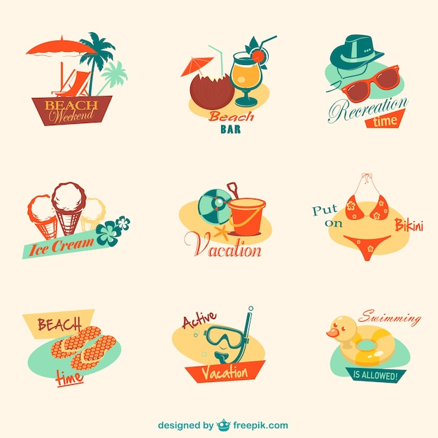 Retro summer beach graphics Vector | Free Download