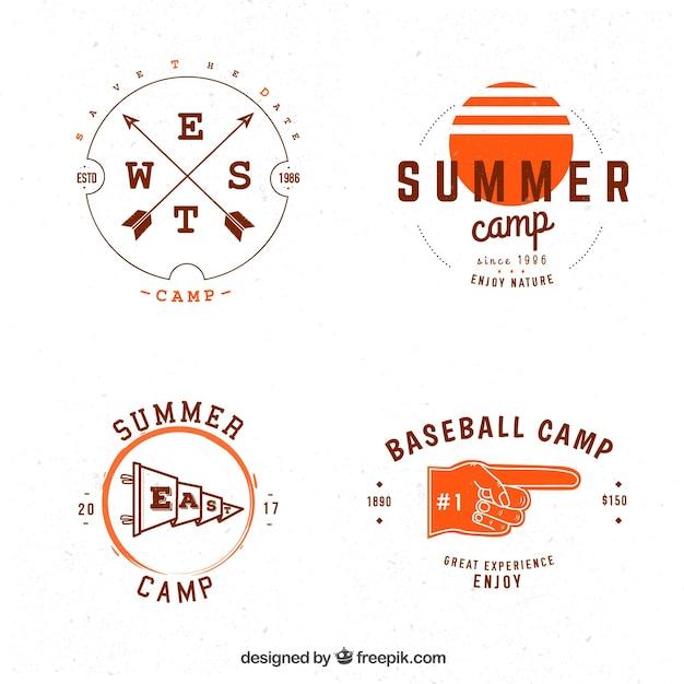 Retro summer camp logos pack