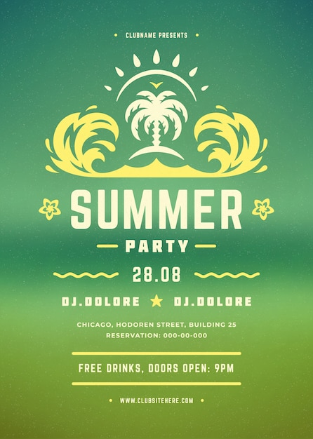 Retro summer party poster Premium Vector