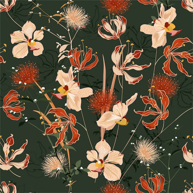 Retro summer wild forest full of blooming flower in many kind of floral seamless pattern. Premium Vector
