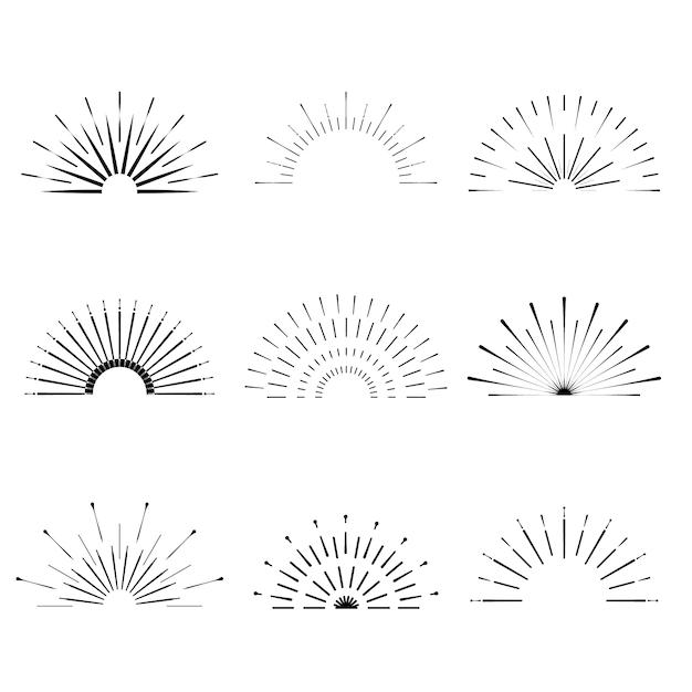 レトロなサンバースト形状。ビンテージスターバーストのロゴ、ラベル、バッジ。サンバースト最小限のロゴフレーム。花火のデザイン要素が分離されました。サンバーストライトのロゴ。最小限のヴィンテージゴールド花火バースト。 Premiumベクター