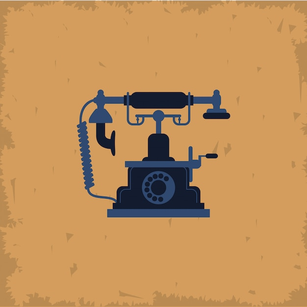Retro telephone on vintage background Premium Vector