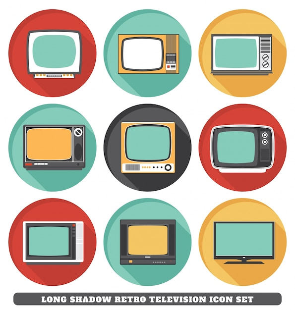 Retro icone di televisione Vettore gratuito