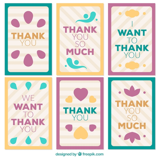 Retro thank you card pack