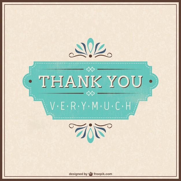 Retro Thank You Card Vector  Free Download