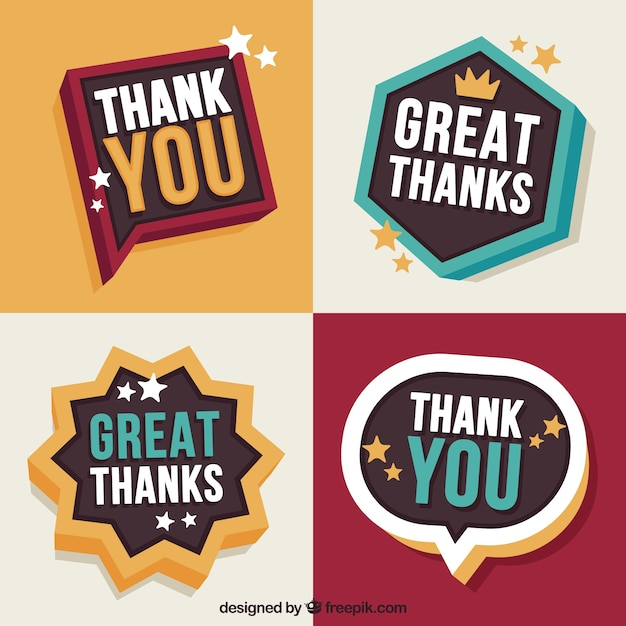 Retro thank you sticker pack Free Vector