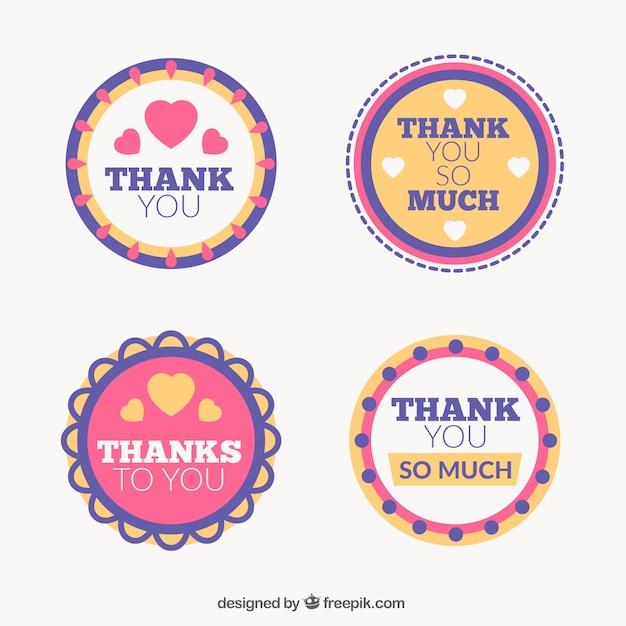 Retro thank you stickers set