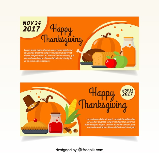Retro thanksgiving banners in flat\ design