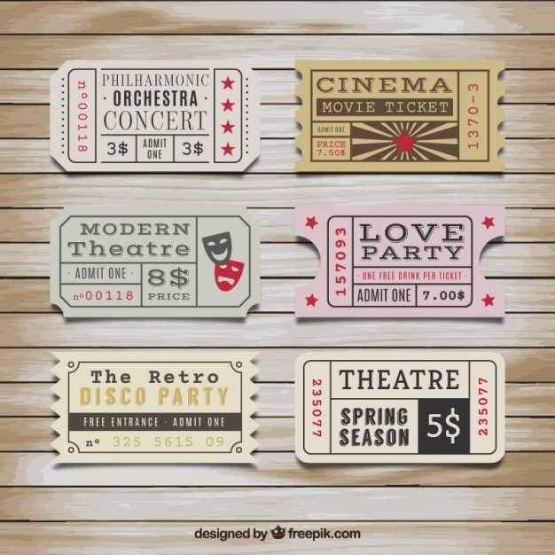 Retro tickets collection Free Vector