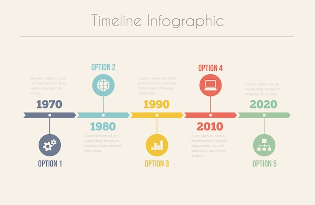 Ретро хронология инфографики Бесплатные векторы