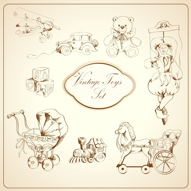 Retro toys drawn elements set Free Vector