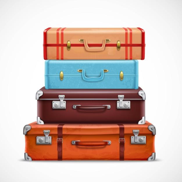 Retro travel luggage suitcases realistic set Free Vector