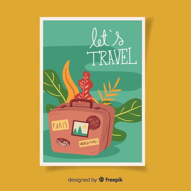 Retro travel poster flat design Free Vector