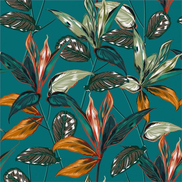 Retro tropical forest  pattern Premium Vector