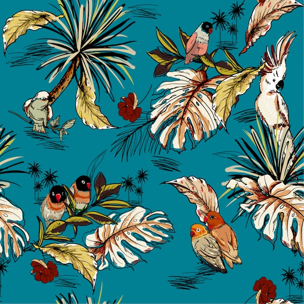 Retro tropical hand drawn sketch with exotic parrots Premium Vector