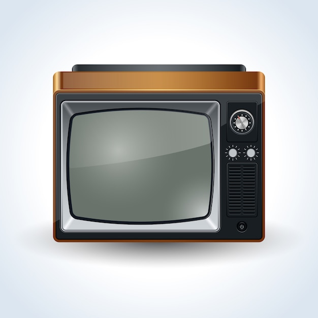 Retro tv set realistic vector illustration on white background Premium Vector
