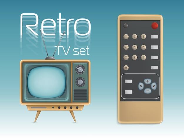 Retro tv set and remote control Premium Vector