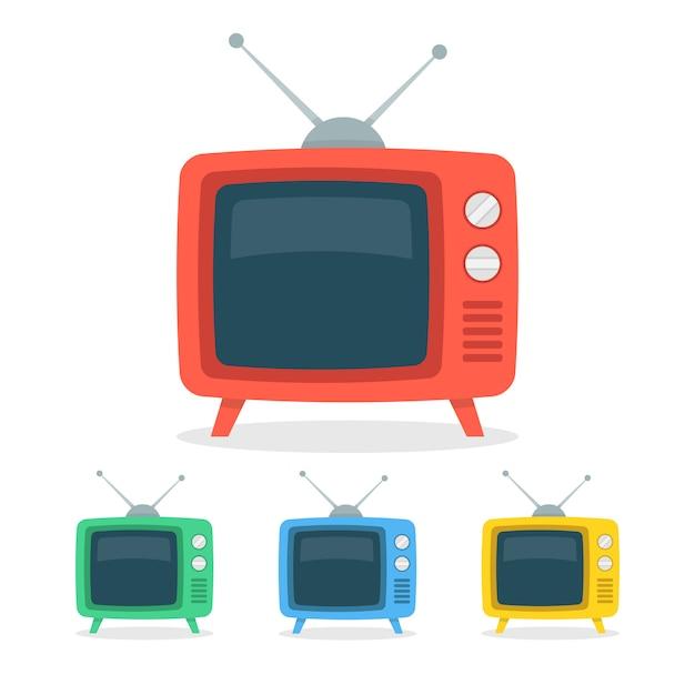 Retro tv set Premium Vector