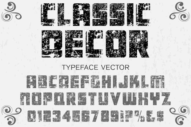 Retro typeface alphabet font design classic decor Premium Vector