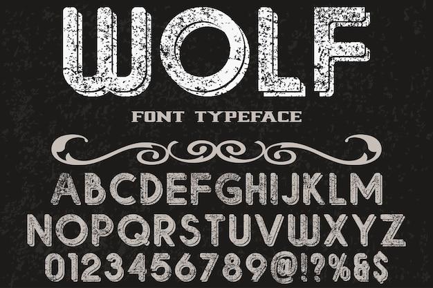 Retro typeface label design wolf Premium Vector