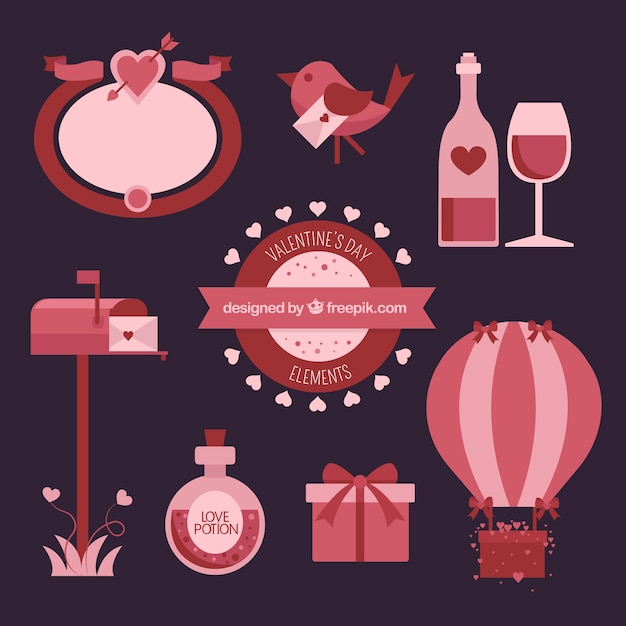 Retro Valentine Day Elements In Flat Design Vector Free Download