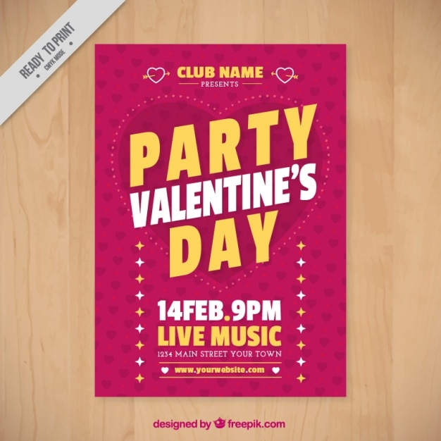 Retro ValentineS Brochure Template Vector  Free Download