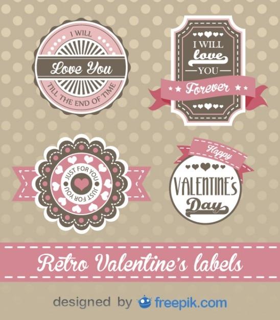 Retro valentine's day decorative design Free Vector