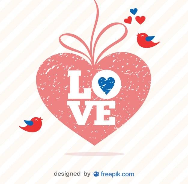 Retro Valentine\'s Day Grunge Heart Vector Vector | Free Download