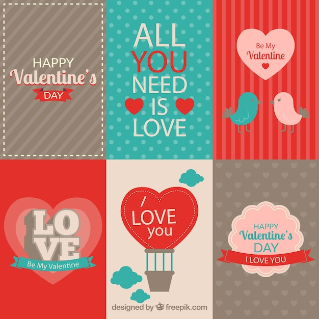 Retro Valentines Day Labels Pack Vector | Free Download