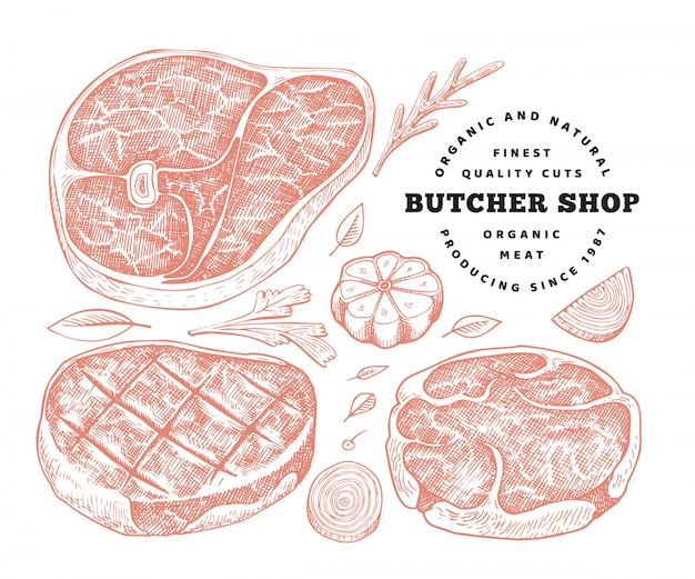 Retro vector meat illustration. hand drawn steak set, spices and herbs. raw food ingredients. vintage sketch Premium Vector