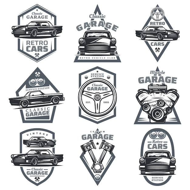 Retro vehicle club emblems set with classic automobiles steering wheel motor engine pistons in vintage style isolated Free Vector