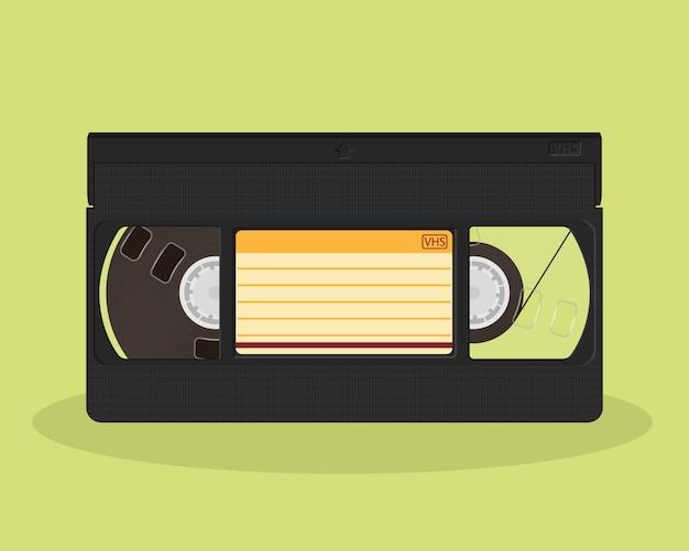 Ретро видеокассета. старая запись видеокассеты. значок хранения фильма винтажном стиле. Premium векторы