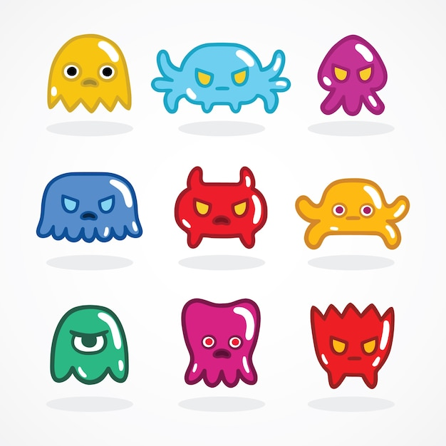 Retro video game monsters set Free Vector