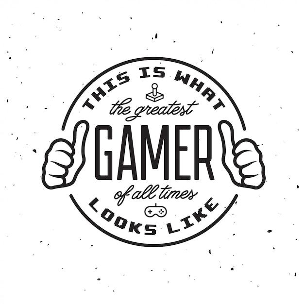 Retro video games badge logo. greatest gamer text. Premium Vector