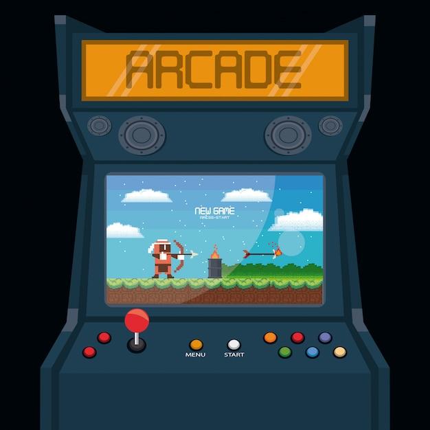 Ретро видеоигра аркадный автомат карты Premium векторы
