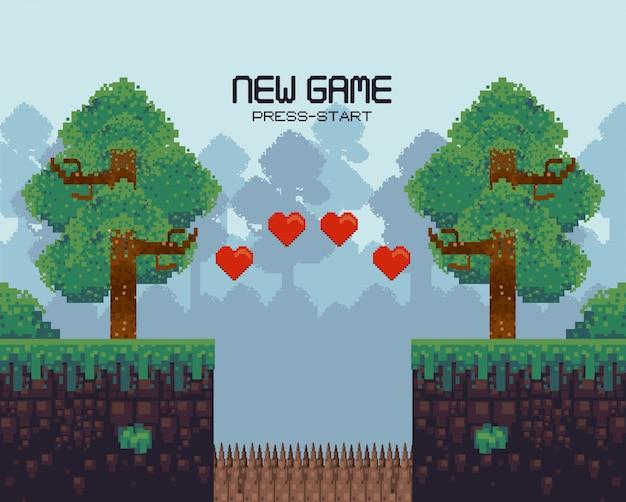 Retro videogame scenery with terrain pixelated Premium Vector