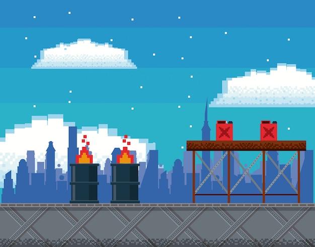 Retro videogame  screen arcade background card Premium Vector