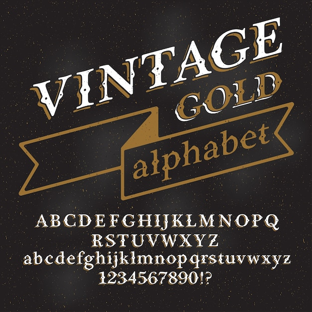 Retro vintage alphabet font. custom type letters and numbers on a dark grunge background. Premium Vector
