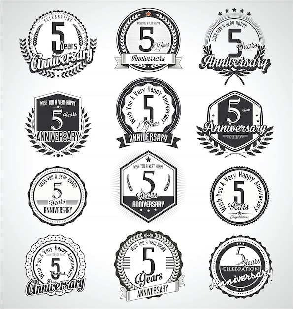 Retro vintage anniversary badges and labels collection Premium Vector