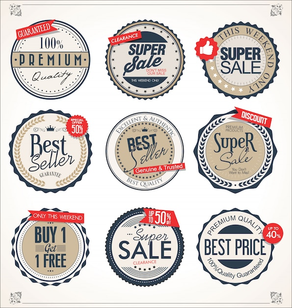 Retro vintage badges and labels collection Premium Vector