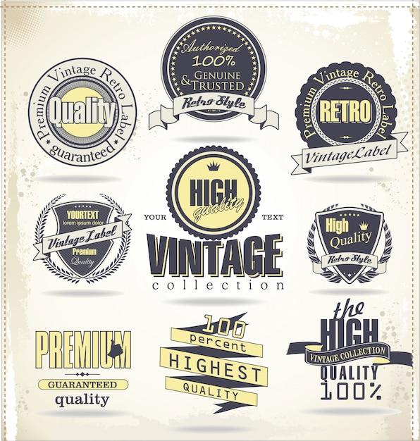 Retro vintage badges and labels Premium Vector