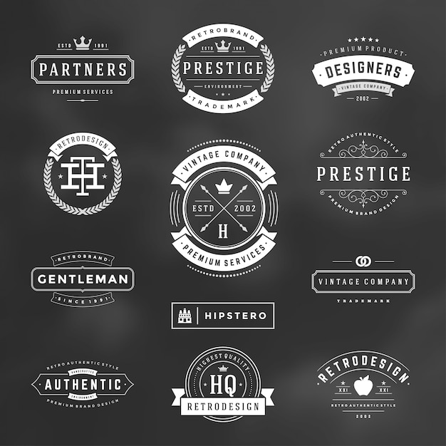 Retro vintage badges and logos set vector design elements Premium Vector